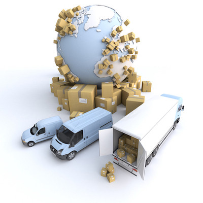 The globe and delivery vehicles surrounded with parcels