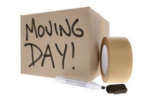 Box for removals, packing tape and marker pen