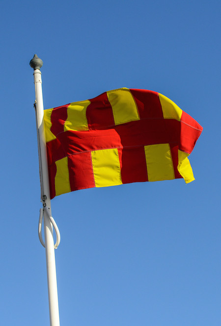 Northumberland flag flying in the wind