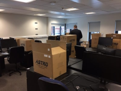 Office in Newcastle being packed up ready to move